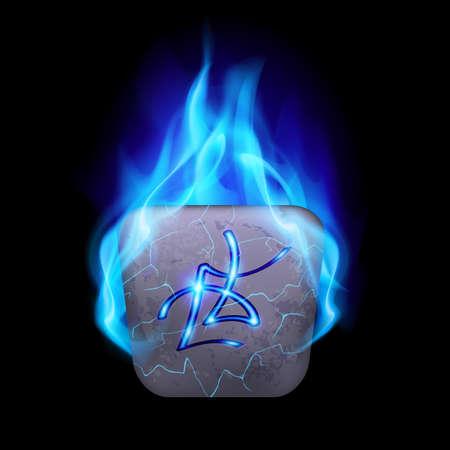 rune: Ancient quadrangular stone with magic rune in blue flame Illustration