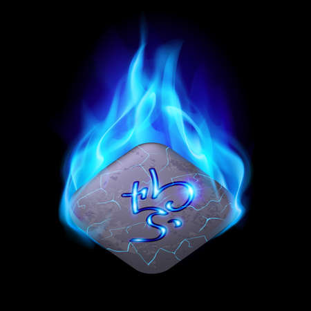 blue flame: Ancient quadrangular stone with magic rune burning in blue flame