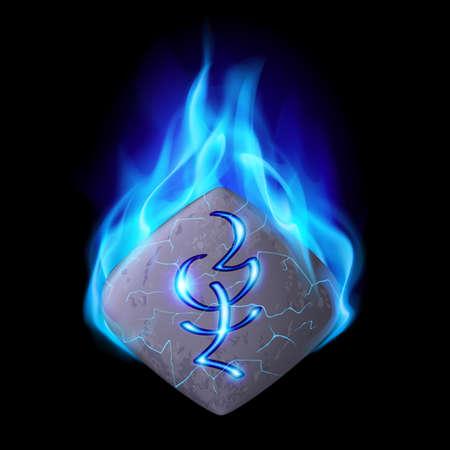 rune: Cracked quadrangular stone with magic rune burning in blue flame Illustration