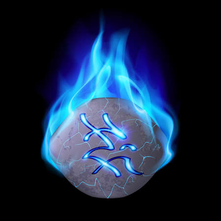 blue flame: Secret stone with magic rune burning in blue flame Illustration