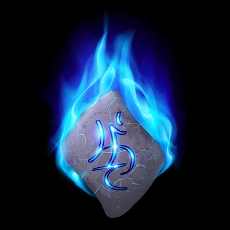 obelisk: Burning blue flame rune stone with magical spells.