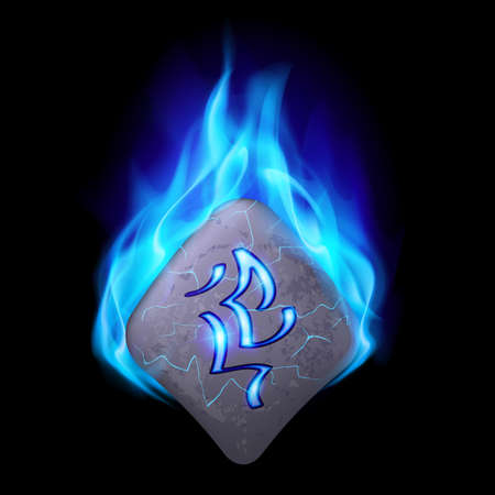 blue flame: Secret bend stone with magic rune burning in blue flame