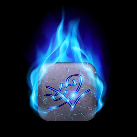 blue flame: Mythic rectangular stone with magic rune burning in blue flame