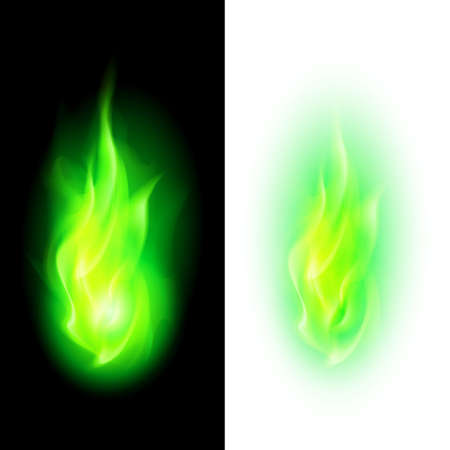 Green fire flames over contrast black and white backgrounds
