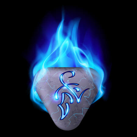 blue flame: Mysterious triangular stone with magic rune in blue flame
