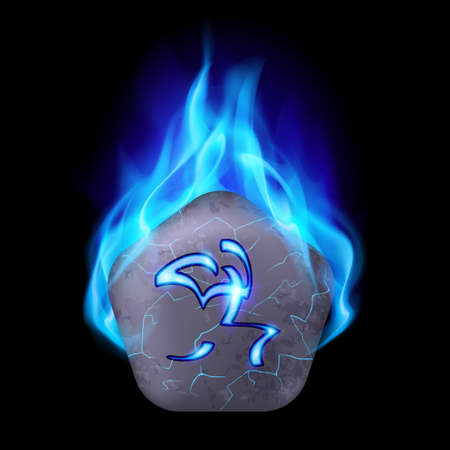blue flame: Ancient pentagonal stone with magic rune in blue flame Illustration