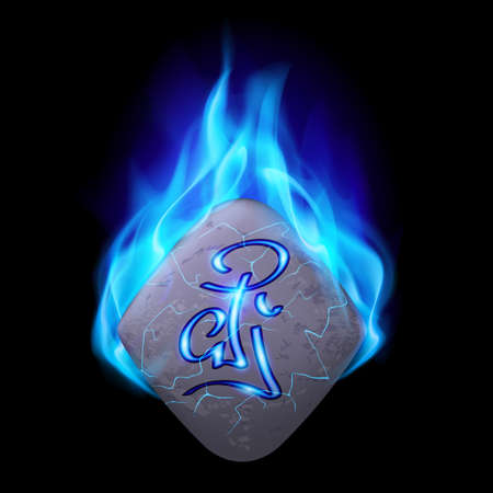 blue flame: Secret diamond-shaped stone with magic rune in blue flame