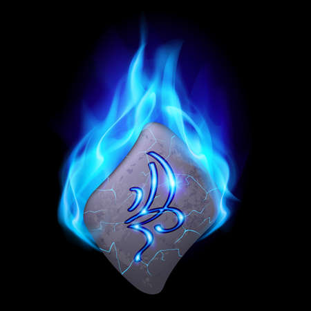 blue flame: Secret bend stone with magic rune in blue flame