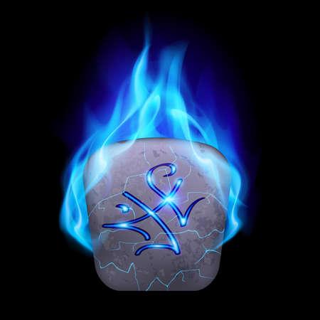 rune: Secret quadrangular stone with magic rune in blue flame