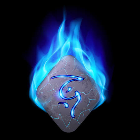 blue flame: Mythic diamond-shaped stone with magic rune in blue flame