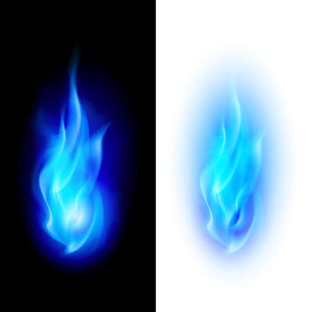 Blue fire flames over contrast black and white backgrounds