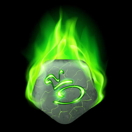 wizardry: Mysterious pentagonal stone with magic rune in green flame Illustration