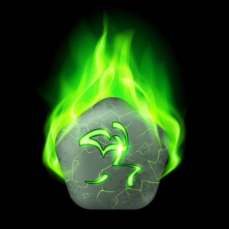burning alphabet: Ancient pentagonal stone with magic rune in green flame