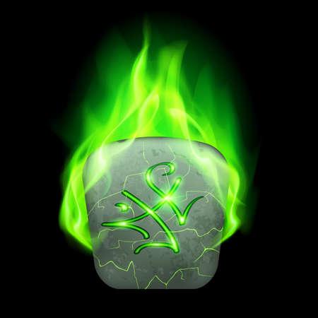 rune: Cracked quadrangular stone with magic rune in green flame Illustration