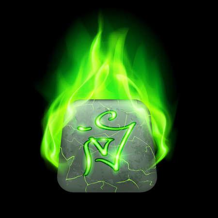 rune: Secret quadrangular stone with magic rune in green flame Illustration