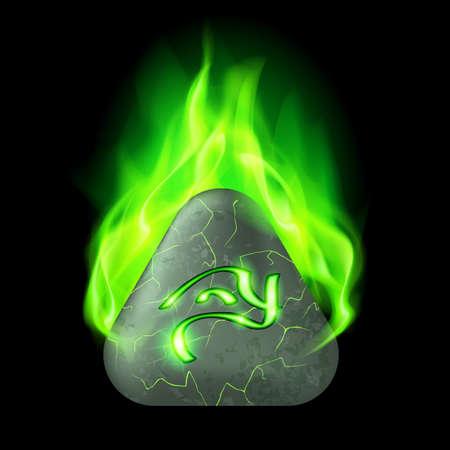 burning alphabet: Secret triangular stone with magic rune in green flame