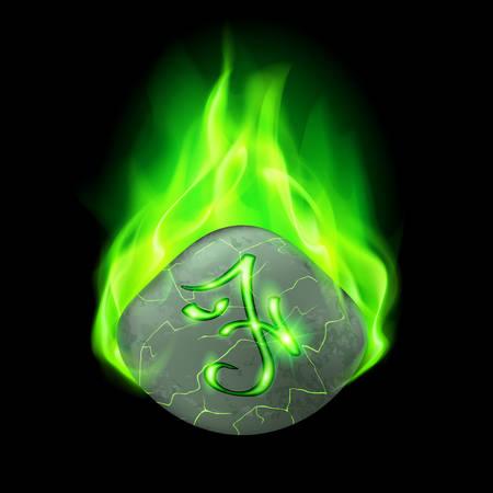 rune: Secret cracked stone with magic rune in green flame