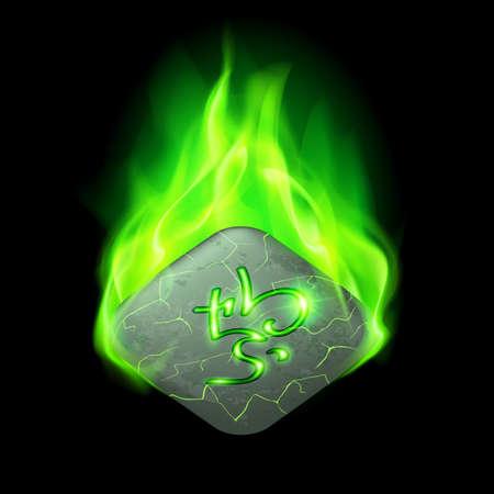 rune: Ancient quadrangular stone with magic rune burning in green flame