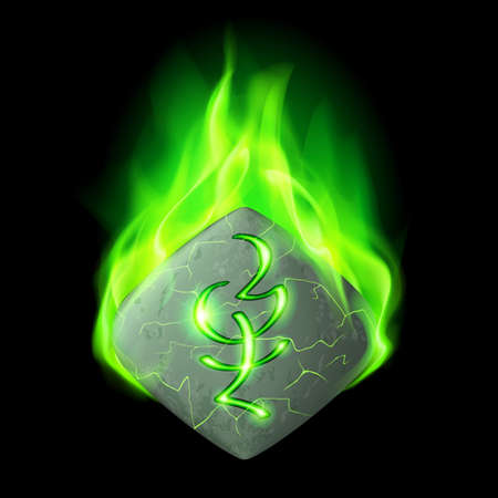wizardry: Mysterious quadrangular stone with magic rune burning in green flame Illustration