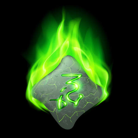 wizardry: Secret bend stone with magic rune in green flame