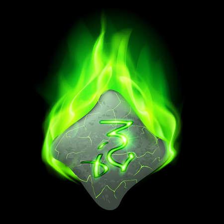 rune: Secret bend stone with magic rune in green flame
