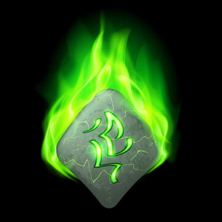 burning letter: Mysterious diamond-shaped stone with magic rune burning in green flame