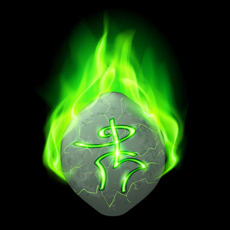 burning alphabet: Mysterious rough stone with magic rune burning in green flame