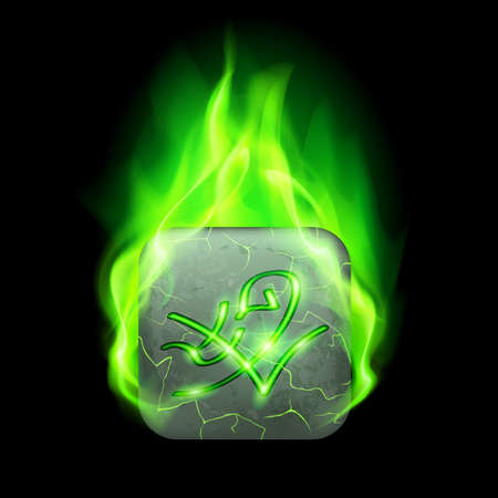 burning alphabet: Mysterious rectangular stone with magic rune in green flame Illustration