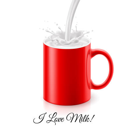 Pouring milk into red mug with splashes Vector