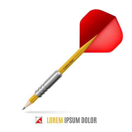 creativity concept: Lead pencil in form of dart. Targeting and creativity concept