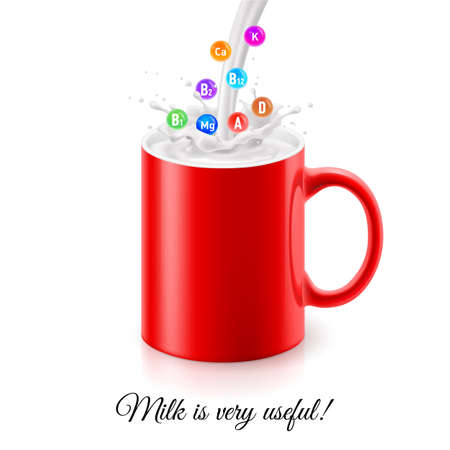 Pouring milk into red mug with illustration of various vitamins in splashes