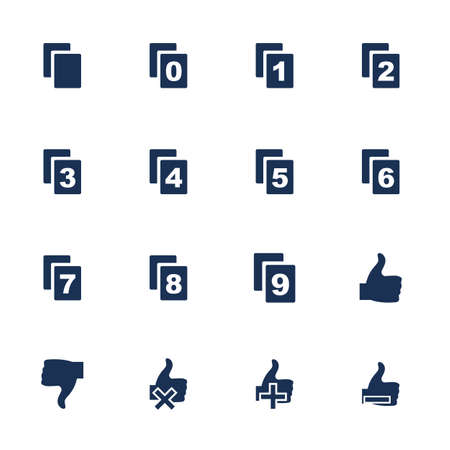 disapprove: Set of flat icons with file numbers and appreciation marks