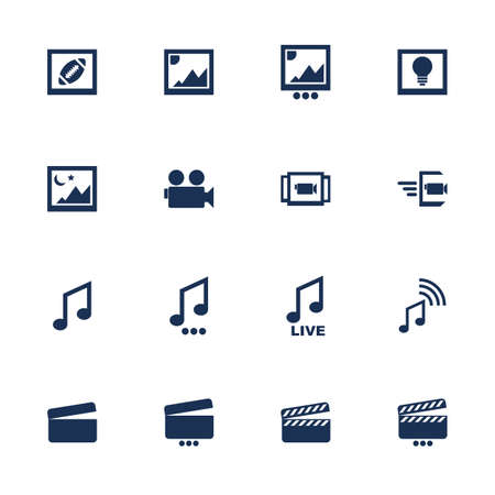 Set of flat icons for multimedia interface