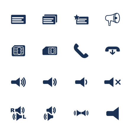 Set of flat icons for telephone interface