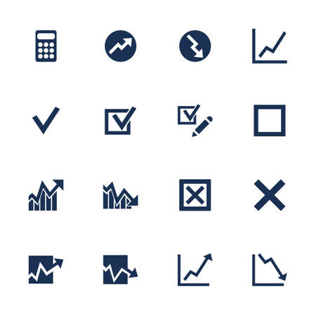 Set of icons with diagrams in flat style Vector