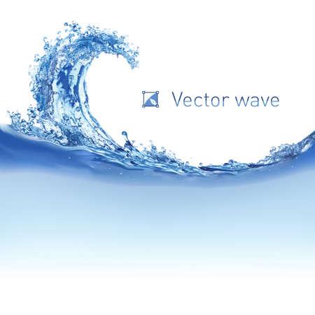 olas de mar: Enfriar Ilustraci�n onda de agua en blanco para el dise�o