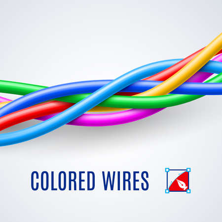 telephone cable: Interwoven plastic wires or cables in different colors