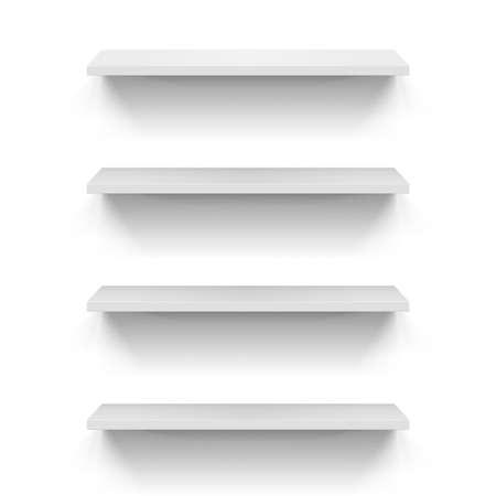 three shelves: Set of empty shelves on the white wall
