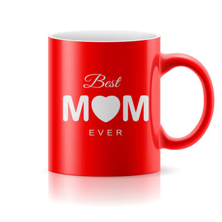 glossiness: Red glossy  mug on the white background. Best mom ever Illustration