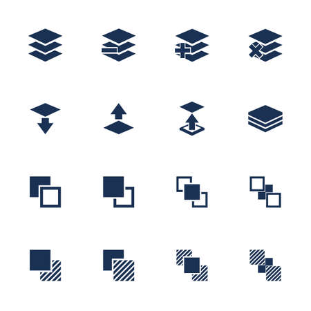 functions: Set of flat square icons with functions for program on white background Illustration