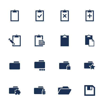favorite: Set of flats quare media icons on the white background
