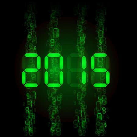 tableau: New Year 2015: green digital numerals on black.