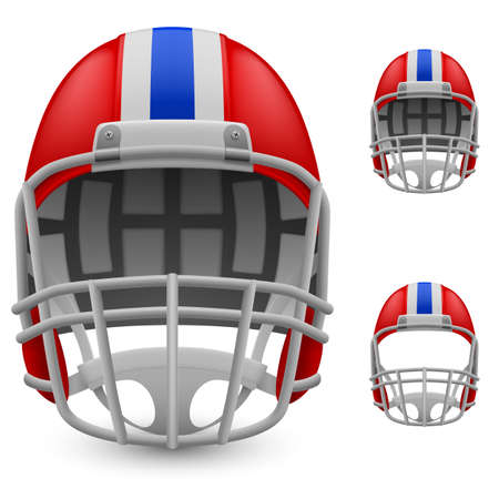 Set of football helmets on a white background Vector