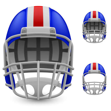 football helmets: Set of blue football helmets on a white background