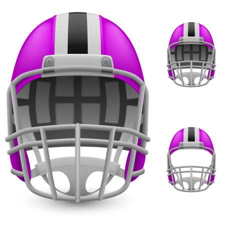 football helmets: Set of magenta football helmets on a white background