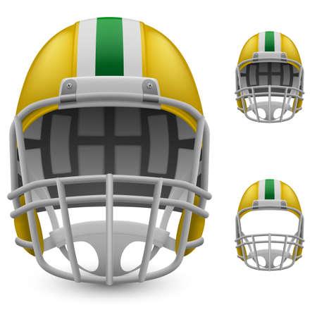 football helmets: Set of yellow football helmets on a white background