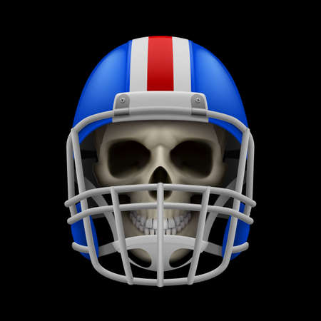 layer mask: Blue football helmet with skull on a black background