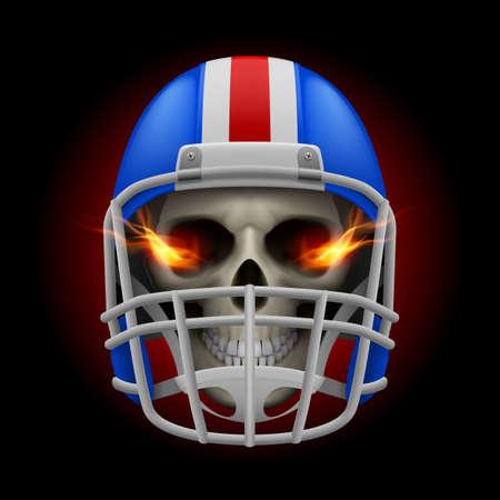 Blue football helmet with fire eyes skull on a black background Vector