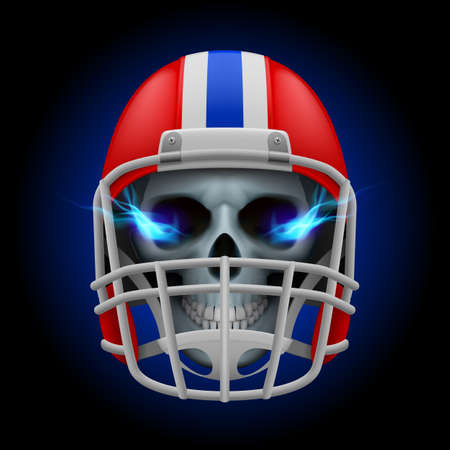 Red football helmet with blue fire eyes skull on a black background Vector