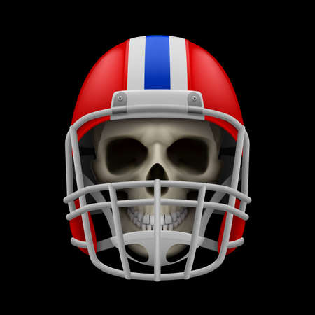 layer masks: Red football helmet with skull on a black background